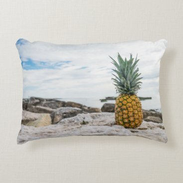 Beach Themed Tropical Pineapple at the Beach Accent Pillow