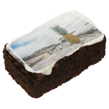 Beach Themed Tropical Pineapple at the Beach Brownie