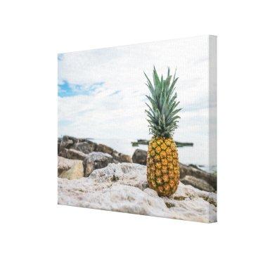 Beach Themed Tropical Pineapple at the Beach Canvas Print