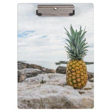 Beach Themed Tropical Pineapple at the Beach Clipboard