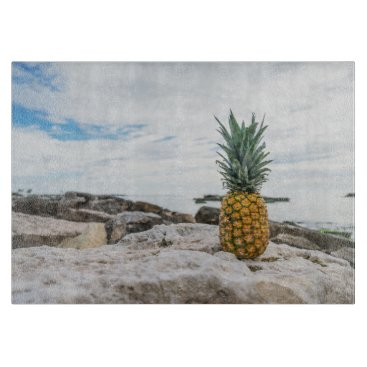Beach Themed Tropical Pineapple at the Beach Cutting Board