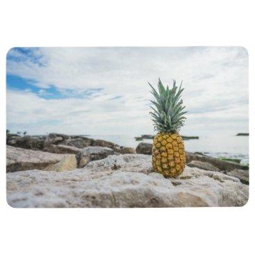 Beach Themed Tropical Pineapple at the Beach Floor Mat