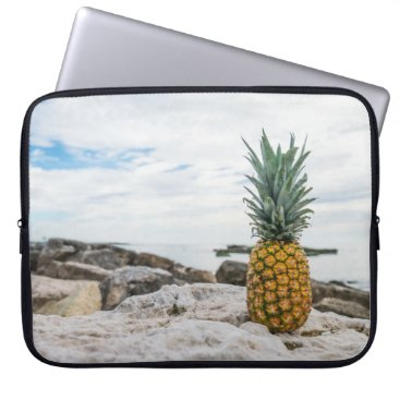 Beach Themed Tropical Pineapple at the Beach Laptop Sleeve