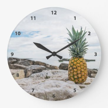Beach Themed Tropical Pineapple at the Beach Large Clock