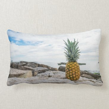 Beach Themed Tropical Pineapple at the Beach Lumbar Pillow