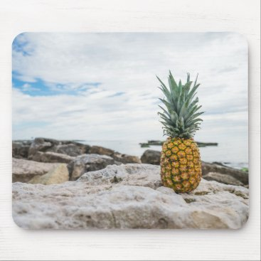 Beach Themed Tropical Pineapple at the Beach Mouse Pad