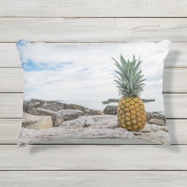 Beach Themed Tropical Pineapple at the Beach Outdoor Pillow