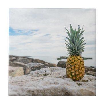 Beach Themed Tropical Pineapple at the Beach Tile
