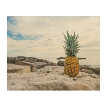 Beach Themed Tropical Pineapple at the Beach Wood Wall Art