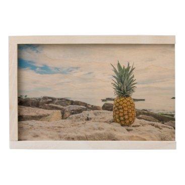 Beach Themed Tropical Pineapple at the Beach Wooden Keepsake Box