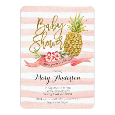 Beach Themed Tropical Pineapple Baby Shower Invitation