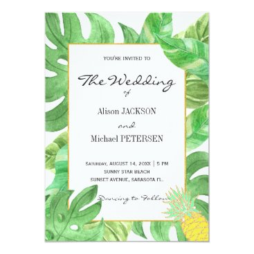 Tropical pineapple beach green gold wedding card