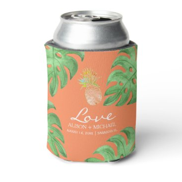 Beach Themed Tropical pineapple beach green peachy pink wedding can cooler