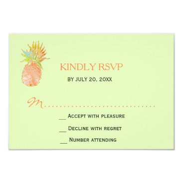 Beach Themed Tropical pineapple beach green peachy wedding RSVP Card