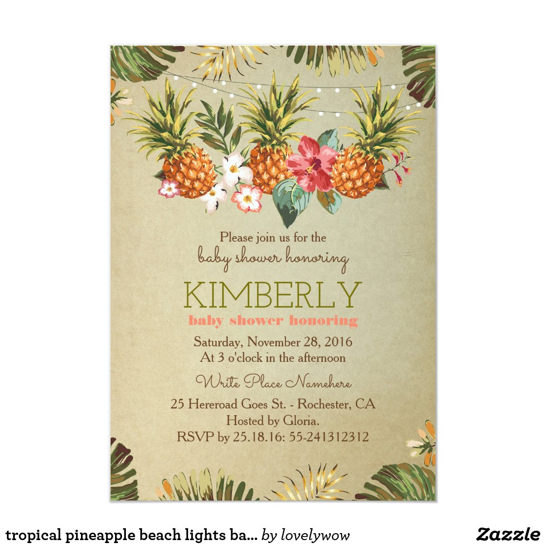 tropical pineapple beach lights baby shower card