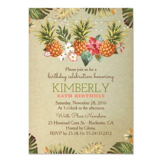 tropical pineapple beach lights birthday party card