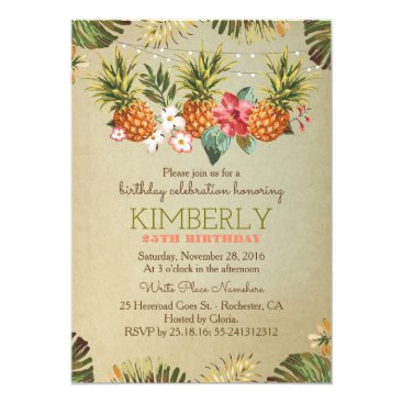 lovelywow tropical pineapple beach lights birthday party card