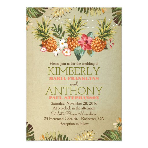 tropical pineapple beach lights wedding card