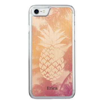 Beach Themed Tropical Pineapple Beach Palm Trees Carved iPhone 7 Case
