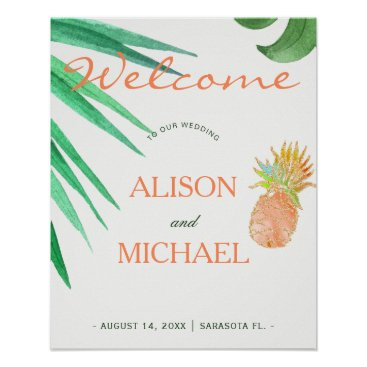 Beach Themed Tropical pineapple beach peachy green wedding sign