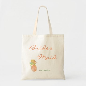 Beach Themed Tropical pineapple beach wedding peachy bridesmaid tote bag