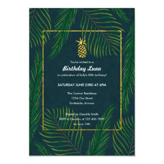 Tropical Pineapple Birthday Luau Party Card