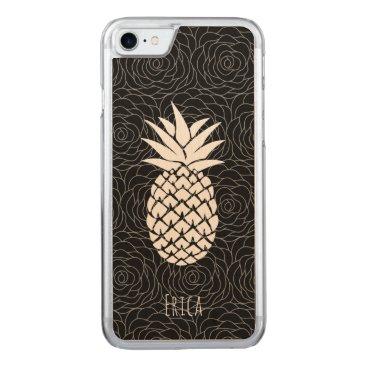 Beach Themed Tropical Pineapple Black Floral Pattern Carved iPhone 7 Case