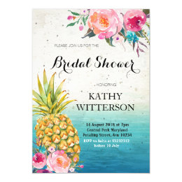 Tropical bridal shower invitations announcements zazzle tropical pineapple bridal shower invitation filmwisefo Image collections