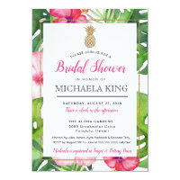 Tropical Pineapple Bridal Shower Invitation, White Invitation