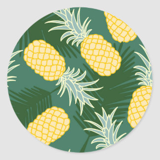 Tropical pineapple classic round sticker