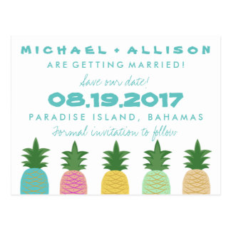 Tropical Pineapple Destination Save the Date Postcard