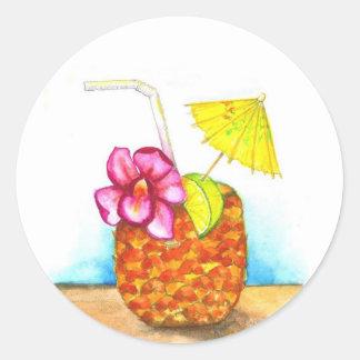 Tropical Pineapple drink, Hawaiian style sticker.