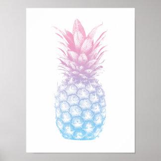Tropical Pineapple Elegant Blue & Pink Poster