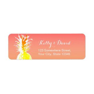 Tropical Pineapple Elegant Wedding Return Address Label