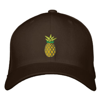 Tropical Pineapple Embroidery Graphic on Embroidered Baseball Cap