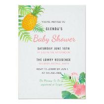 Tropical Pineapple Flamingo Baby Shower invitation
