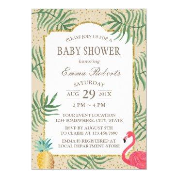 Beach Themed Tropical Pineapple & Flamingo Beach Baby Shower Card