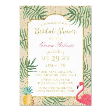 Beach Themed Tropical Pineapple & Flamingo Beach Bridal Shower Card