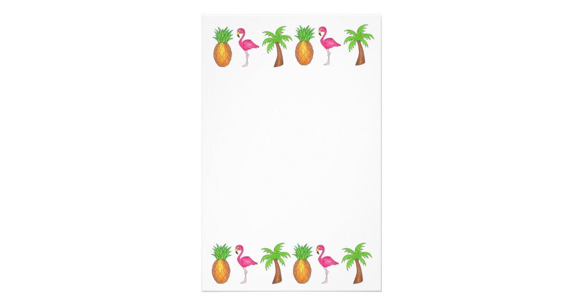tropical pineapple flamingo palm tree stationery zazzle com