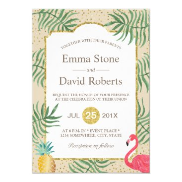 Beach Themed Tropical Pineapple & Flamingo Summer Beach Wedding Card