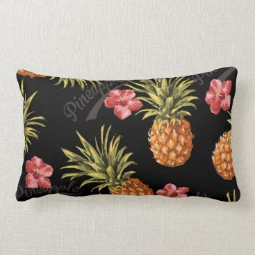 Beach Themed Tropical Pineapple Floral Decorative Throw Pillow