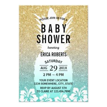 Toddler & Baby themed Tropical Pineapple Flower Gold Glitter Baby Shower Card