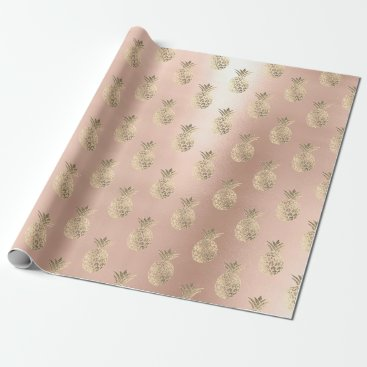 Beach Themed Tropical pineapple fruit rose gold blush powder wrapping paper