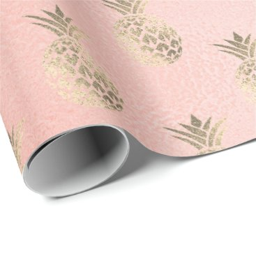 Beach Themed Tropical pineapple fruit rose gold  glass sparkly wrapping paper