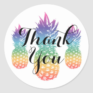 Tropical pineapple fruit thank you stickers