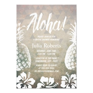 Beach Themed Tropical Pineapple Geometric Beach Bridal Shower Card