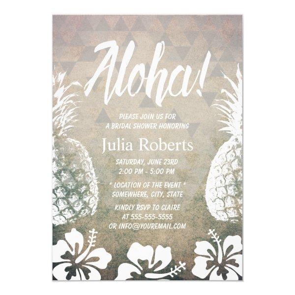 Tropical Pineapple Geometric Beach Bridal Shower Card
