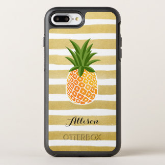Tropical Pineapple Gold Stripes Monogram Name OtterBox Symmetry iPhone 7 Plus Case