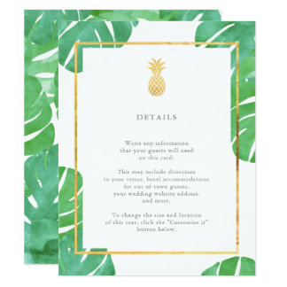 Tropical Pineapple Gold Wedding Insert Cards