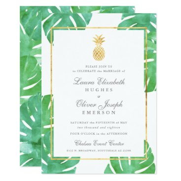 Beach Themed Tropical Pineapple Gold Wedding Invitations